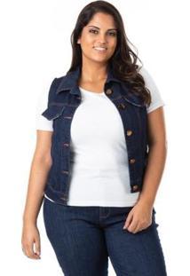 Colete Jeans Tradicional Plus Size Confidencial Extra Feminino - Feminino-Azul