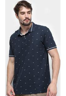 Camisa Polo Aleatory Piquet Mini Print Masculina - Masculino-Marinho