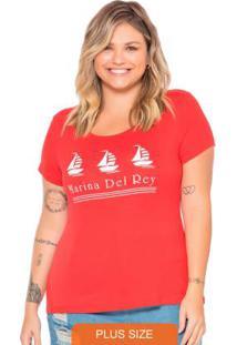 T-Shirt Feminina Com Estampa Marina Vermelho
