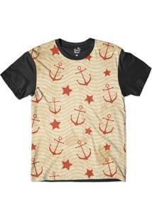 Camiseta Long Beach Náutica Âncoras E Estrelas Sublimada Masculina - Masculino-Bege+Preto
