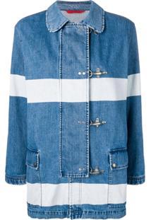 Fay Striped Denim Duffle Jacket - Azul