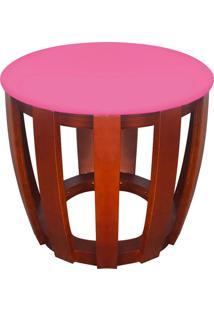 Puff Tamborim Lateral Corino Pink Base Madeira - D'Rossi