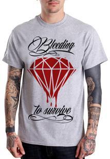 Camiseta Hypnotic Bleeding To Survive Cinza Mescla