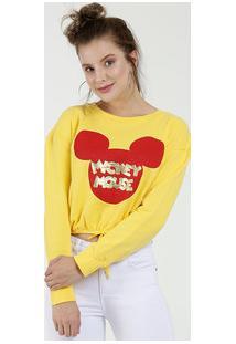 Blusão Feminino Cropped Estampa Mickey Manga Longa Disney