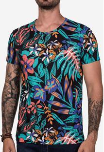 Camiseta Hermoso Compadre Psyco Flowers Masculina - Masculino-Preto+Verde