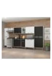 Cozinha Compacta Xangai 15 Pt 1 Gv Branca E Preta