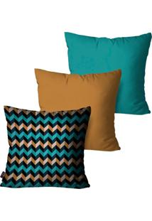 Kit Com 3 Capas Para Almofadas Pump Up Decorativas Turquesa Chevron Multi Color 45X45Cm