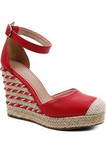 Sandália Anabela Shoestock Corda Feminina - Feminino-Vermelho