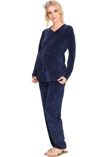 Pijama Vincullus Gestante Aberto Inverno Plusch Marinho
