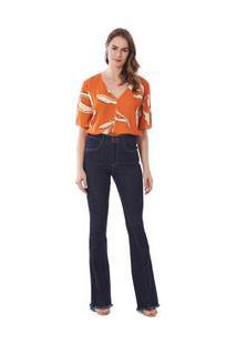 Calça Maria.Valentina Flare M. Victoria Cós Alto Com Recorte Jeans