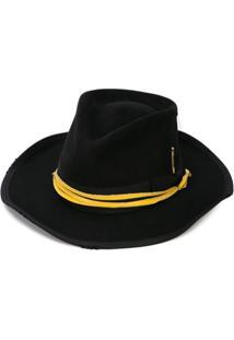 Nick Fouquet Chapéu Com Acabamento De Fita - Black With Yellow Leather Wrap