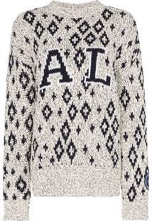 Calvin Klein 205W39Nyc Suéter De Tricô Com Estampa Geométrica - Branco