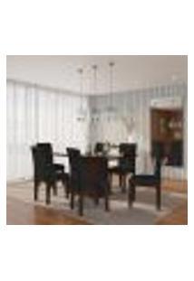 Conjunto De Mesa De Jantar Laura Ii Com Vidro E 6 Cadeiras Grécia Suede Castor E Preto