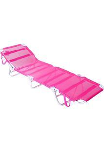 Cadeira Espreguiçadeira Bel Lazer Dobrável Aluminio Rosa