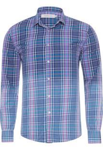 Camisa Masculina Xadrez Bicolor Degradê - Azul