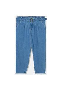 Calça Slouchy Jean Lisa Com Cinto Curve & Plus Size | Ashua Curve E Plus Size | Azul | 46