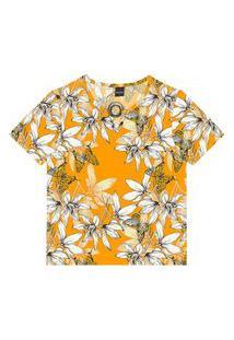 Blusa Feminina Estampa Floral Rovitex Amarelo