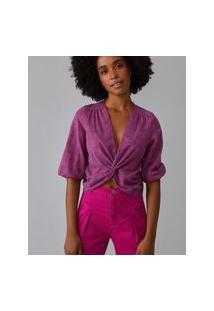 Amaro Feminino Blusa Decote Com Twist, Rosa Escuro