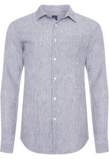 Camisa Masculina Classic Linen Stripes - Cinza