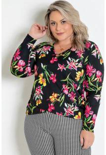 Blusa Floral Transpassada Plus Size