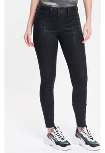 Calça Jeans Feminina Five Pockets Super Skinny Cintura Média Preta Calvin Klein - 34