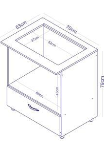 Balcão Completa Móveis Bl 140 Para Cooktop E Microondas Branco