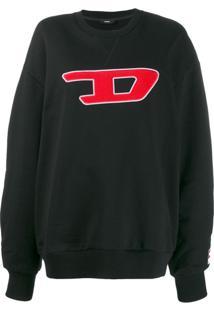 Diesel Moletom Com Logo Contrastante - Preto