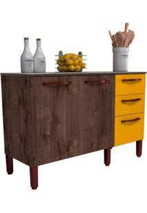 Balcão De Cozinha Malu 2 Pt 3 Gv Álamo E Amarelo