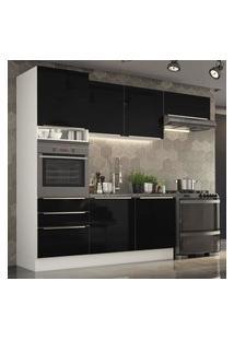 Cozinha Completa Madesa Lux Com Armário E Balcáo 6 Portas 3 Gavetas - Branco/Preto Branco