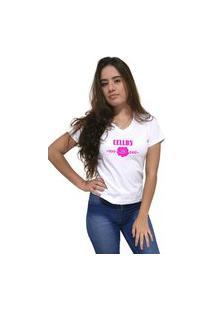 Camiseta Feminina Gola V Cellos Sigle Rose Premium Branco