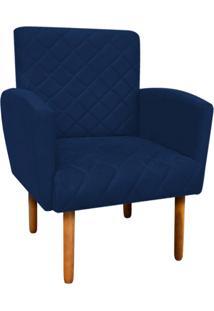 Poltrona Decorativa Veronês Para Sala E Recepção Suede Azul Marinho - D'Rossi