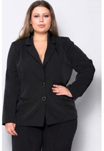 Blazer Plus Size Two Way Basic - Palank Preto