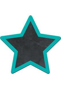 Quadro Decorativo Lousa De Giz Estrela- Preto & Verde Ágcia Laser
