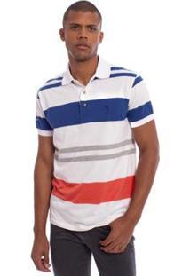 Camisa Polo Aleatory Listrada Show Masculina - Masculino-Branco