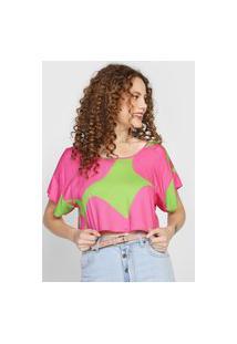 Camiseta Cropped Forum Estampada Rosa/Verde