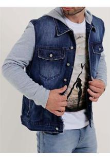Jaqueta Jeans Bivik Masculina - Masculino-Azul+Cinza