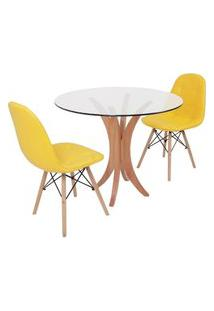 Conjunto Mesa De Jantar Tampo De Vidro 90Cm Com 2 Cadeiras Botonê - Amarelo