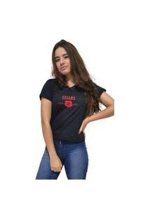 Camiseta Feminina Gola V Cellos Sigle Rose Premium Preto