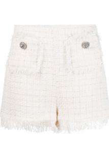 Blumarine Saia De Tweed Com Acabamento De Franjas - Branco