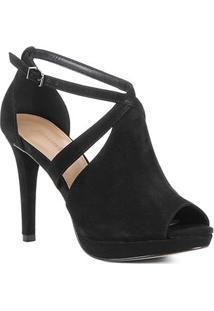 Sandália Shoestock Nobuck Meia Pata Feminina - Feminino-Preto