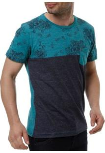 Camiseta Manga Curta Masculina Local Verde/Azul