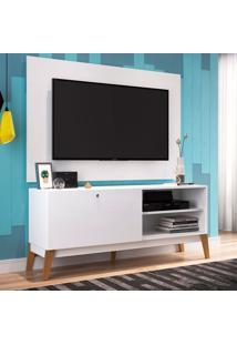 Rack Com Painel Para Tv Até 49 Polegadas Corfu Branco E Marrom 136 Cm