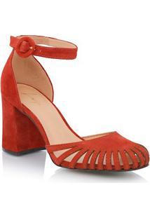 Sapato Bico Redondo Em Camurça Ferrugem