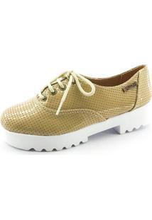 Tênis Tratorado Quality Shoes Feminino 005 Verniz Bege Perfurado 35