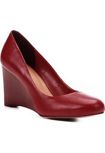 Scarpin Couro Shoestock Salto Médio Anabela - Feminino-Vinho