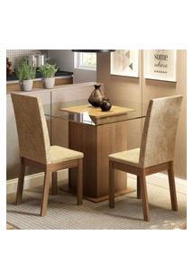 Conjunto Sala De Jantar Madesa Cau Mesa Tampo De Vidro Com 2 Cadeiras Marrom