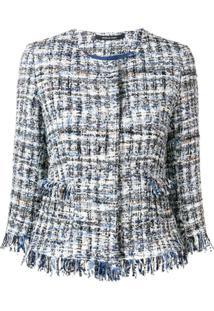 Tagliatore Tweed Embroidered Blazer - Azul