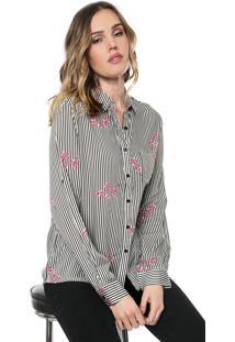Camisa Facinelli By Mooncity Listrada Cerejeira Branca/Preta