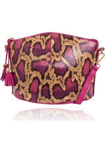 Bolsa Estruturada Campezzo Couro Snake Pink - Kanui