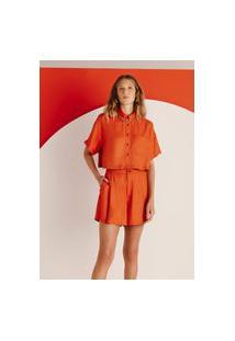 Camisa Feminina Cropped Em Tecido De Viscose - Laranja